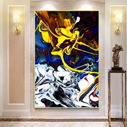 yhyxll Modernes abstraktes Ölgemälde auf Leinwandplakaten und -drucken Wandkunst-Gemälde Wunderschönes abstraktes Farbbild für Wohnzimmerdekor 60x90cm
