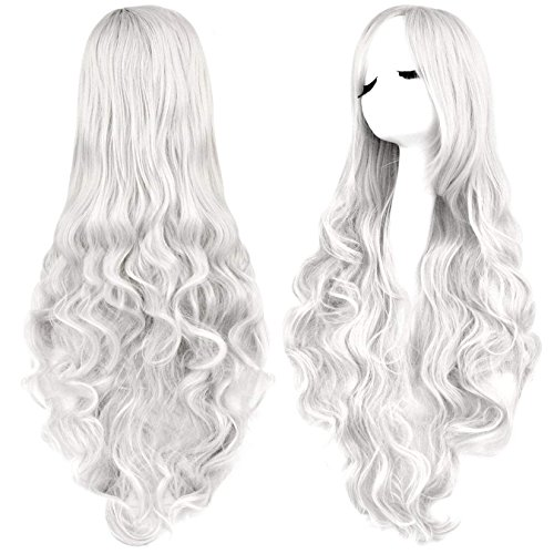 Rbenxia Curly Cosplay Wig Long Hair Heat Resistant Spiral Costume Wigs Anime Fashion Wavy Curly Cosplay Daily Party Silver 32' 80cm