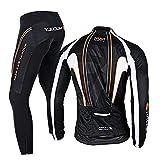 RMane Traje de ciclismo de forro polar para hombre, conjunto de camiseta de manga larga y pantalones cortos acolchados 3D S - 2XL (negro/naranja, 2XL)