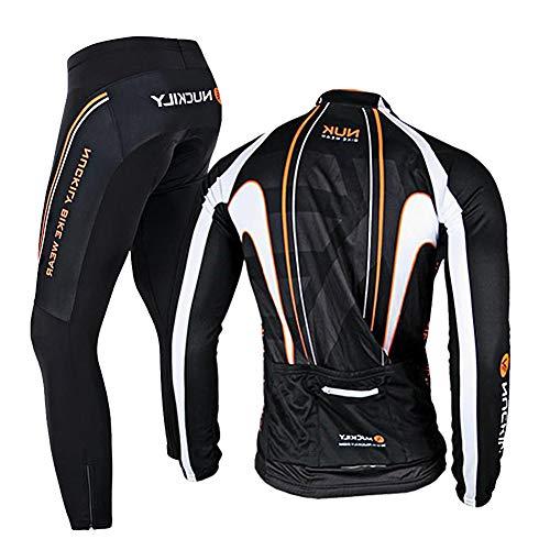 RMane Herren Radsport-Anzüge Fleece Fahrradbekleidung Set RadtrikotLangarm Radjacke + Radhose 3D Gepolsterte S - 2XL (Schwarz-Orange, XL)