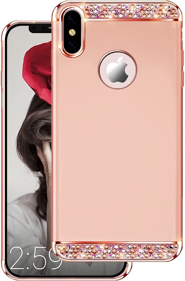 HAISAIDE iPhone X Case for Women,Three in One Ultra-Thin Drill Sleeve for iPhone Xs(5.8 inch-Rose Gold
