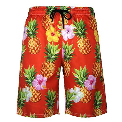 QWKLNRA Hombre Pantalones Cortos De Playa Pantalones Cortos De Natación para Hombre Rojo Piña Print Men Swimming Shorts Summer Beach Board Shorts Hawaii Men's Swim Trunks Swimwear Swim Shorts Surf