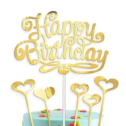vsd-vk Happy Birthday Tortendeko Cake Topper Geburtstag Kuchendeko Kuchendekoration Gold Torten Kuchen Deko (Gold mit 5 Herzen)