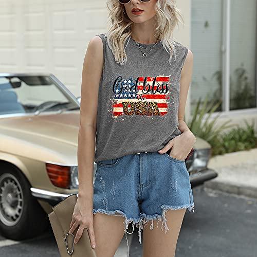 Mayntop Camiseta de manga corta para mujer con diseño de bandera de Estados Unidos con texto en inglés