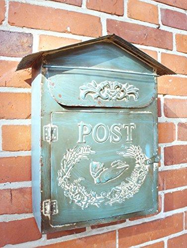 Briefkasten aus Metal im Landhaus Shabby chic Stil, blau-türkis