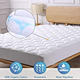 CO-Z Mattress Pad Cover Cotton Queen Size - Bedding Quilted Ultra Soft Overfilled Pillow Top Mattress Topper w/Deep Pocket Stretch up to 8-21 inch Oeko-TEX Certified 3M Scotchgard Moisture Management