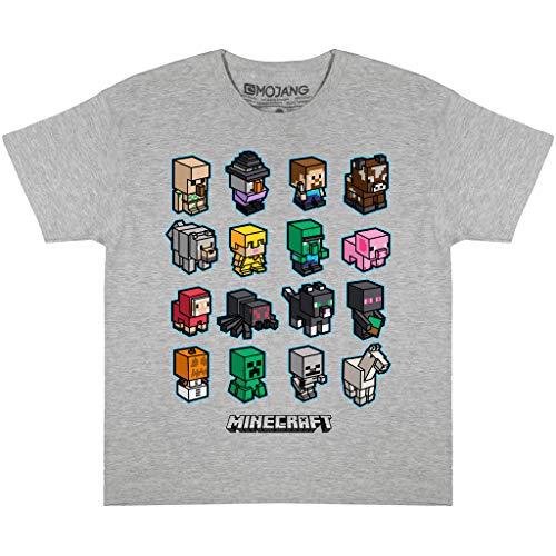Minecraft Mini Mobs Garçons T-Shirt Heather Grey 116   PS4 PS5 Xbox PC Gamer, Commutateur Cadeaux Tween Ados Boys School Jeux Top, Vêtements pour Enfants, badine l'anniversaire Idée Cadeau