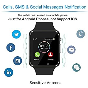 WJPILIS Smart Watch Touchscreen Bluetooth Smartwatch Wrist Watch Sports Fitness Tracker with SIM SD Card Slot Camera Pedometer Compatible iPhone iOS Samsung Android for Men Women Kids (Black)