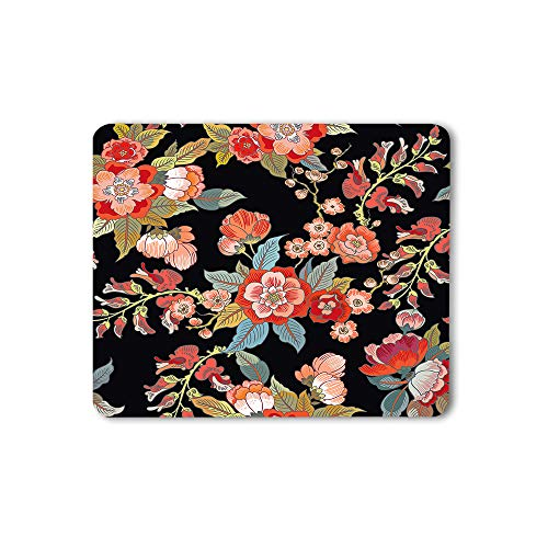 Moslion Floral Mouse Pad Colorful Bright Magical Handmade Branch Elegant Nature Red Gaming Mouse Mat Non-Slip Rubber Base Thick Mousepad for Laptop Computer PC 9.5x7.9 Inch