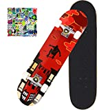 Aihoon 31'x8' Complete Skateboards, 7 Layer Maple Double Kick Deck Standard Skateboard for Skill Trainer, Beginner, Kids Aged 5 and UP