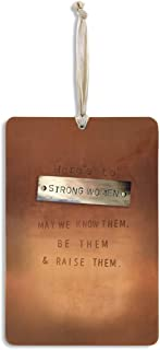DEMDACO Here's to Strong Women Copper Tone 4 x 6 Hammered Metal Pinboard Sign Plaque