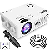 QKK 2021 Upgraded 6500Lumens Mini Projector, Full HD 1080P & 200' Display Supported, Portable Movie Projector Compatible with Phone, TV Stick, PS4, HDMI, AV, Dual USB [Tripod Included]