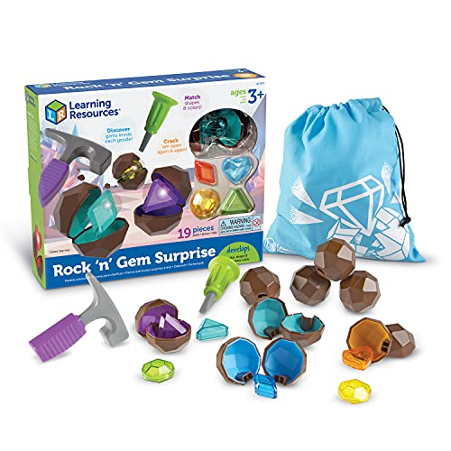 Learning Resources Rock 'n Gem Surprise, Sorting, Matching & Counting Skills Activity Set, Early STEM, 19 Pieces, Ages 3+