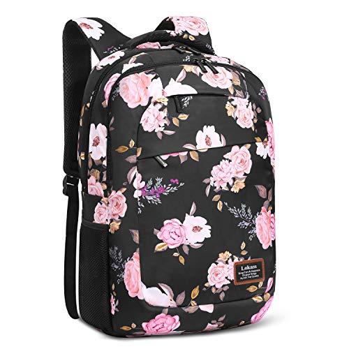 SOCKO Laptop-Rucksack für Damen, leicht, College-Rucksack, Blumenmuster, für Mädchen, Wanderrucksack, wasserabweisend, für Frauen (Pfingstrosenblume)