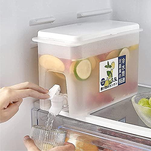 Schlanker Kühlschrank-Wasserspender mit Wasserhahn, Wasserbehälter mit Wasserhahn, Trinkglas mit Zapfhahn, großer Wasserkrug, Getränkespender, nachfüllbares Regal, ideal für kalte Getränke, Punsch