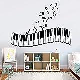 Calcomanías de pared desmontables PVC art pegatinas de pared teclas de piano notas musicales puertas y ventanas pegatinas sala de música estudio jardín de infantes papel tapiz para el hogar 112x84cm