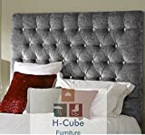 H-Cube Furniture Chesterfield Divan Bed Base Headboard Crushed Velvet Matching/Diamante Buttons Various Heights With Struts & Fixings (Silver - Diamante 5FT <span class='highlight'>King</span> <span class='highlight'>Size</span>-26)
