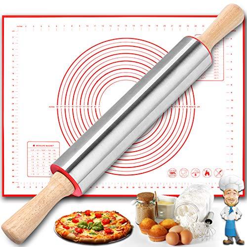 Rodillo Cocina Amasar Acero Inoxidable, Juego de Rodillo Amasar Antiadherente y Marcado...