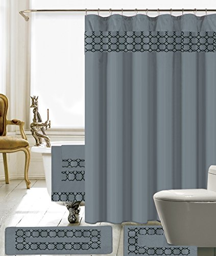 BH Home & Linen 18 Piece Embroidery Banded Shower Curtain Bath Set 1 Bath Mat 1 Contour 1 Shower Curtain 12 Matching Fabric Shower Rings 3 Pcs Matching Towel Set 100% Polyester (Gray)