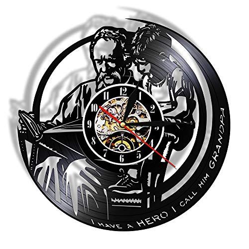 Reloj De Pared Vintage Accesorios De Decoración del Hogar Diseño Moderno Reloj De Vinilo Colgante Reloj De Pared Reloj Único 12' Idea de Regalo。 Abuelo y Nieto Leyendo