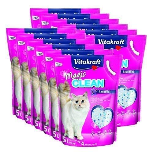 Vitakraft - Lettiera per gatti Magic Clean Lavanda – 12 x 5 litri