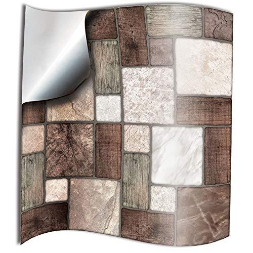 24x mosaico de mármol Lámina impresa 2d PEGATINAS lisas para pegar sobre azulejos cuadrados de 15cm en cocina, baños – resistentes al agua y aceite, Azulejos decorativos (NTP0-M.Mosaic-6'24)