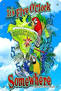 It s Five O Clock Margaritaville Somewhere Parrot Cocktail Iron Vintage Look 8X12 Inch Decoration Crafts Sign for Home Kitchen Bathroom Farm Garden Garage Inspirational Quotes Wall Decor