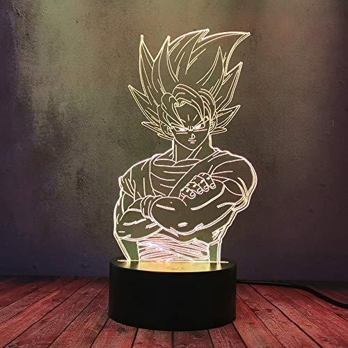 Japón Anime Comic Dragon Ball Luz de noche 3D LED Saiyan Prince Vegeta USB carga lámpara de mesa Goku Kakarotto LED estéreo multicolor linterna regalo niño sueño lámpara luminosa decoración