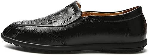 Herren Erbsenschuhe Mikrofaser Leder Freizeitschuhe Atmungsaktive Schuhe Faul Sandalen Loch Moccasins