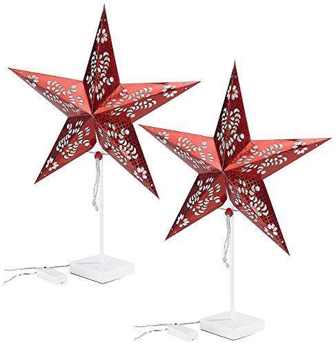 Lunartec Stern: Deko-Tischleuchte in Sternform, rot, 2er-Set (Stern Weihnachten)