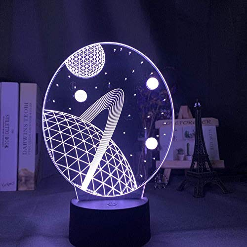 Boutiquespace 3D Illusion Lamp Led Night Light Baby Space Planet for Kids Crib Decor Color Changing Gift The Best Christmas Gifts for Kids Home Decoration Kids Sleep Lamp
