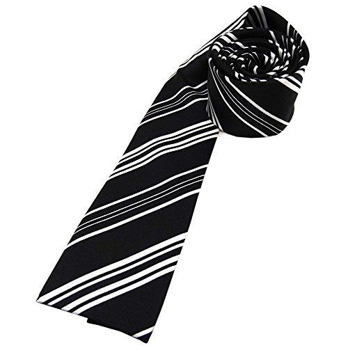 ohne Markenname Damenkrawatte in Satin schwarz silber gestreift - Größe 125 x 5,5 cm