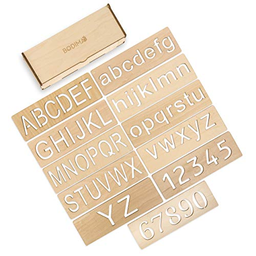 Bodima Educational Wood Handwriting Stencil Set | Easy-to-Use Handwriting for Kids & Preschoolers | Montessori Letters Stencils for More Convenient Handling & Tracing