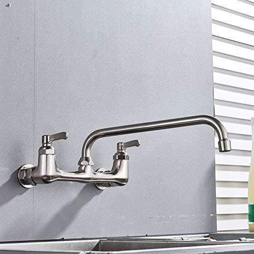 YZDD Grifo Montura en pared Grifo de lavabo con caño largo Grifo doble Níquel cepillado Baño Grifos de cocina Gire la nariz larga Grifos calientes y fríos