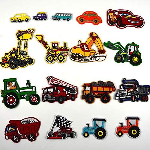 Parches Termoadhesivos Infantiles Decorativos Ropa Excavador 17 Piezas Parches para Chaquetas Sombrero Ropa Bolsas Decoración