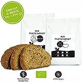 PALEO Brot-Backmischung: 2er Pack Kastanie & Mandel | Bio | Vegan | Getreidefrei, Gluten-frei | Eiweissbrot - 20% Protein | ohne Zucker | Hergestellt in DE | Ergibt 4 Brote -