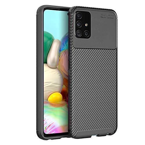Olixar Samsung Galaxy A71 Hülle Carbonfaser - Zwei Schichten - Aktive Stoßdämpfung - Fallschutz Carbon Fibre - Induktives Laden Möglich - Schwarz