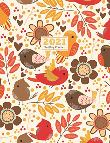 2021 Monthly Planner: 2021 see it bigger Square planner | 12-Month Planner & Calendar with holiday Size: 8.5' x 11' ( Jan 2021 - Dec 2021). For Your ... Bird and Fall Flower Watercolor design