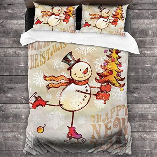 LISNIANY Funda De Edredón,Patinaje Feliz muñeco de Nieve con árbol de Navidad Copos de Nieve Dibujados a Mano Alegre,3 Pcs Ropa de Cama Funda Nórdica Sábana Bajera (140 * 200CM)