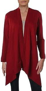 Anne Klein Womens Pointelle Open Front Cardigan Top Titian RED XXS