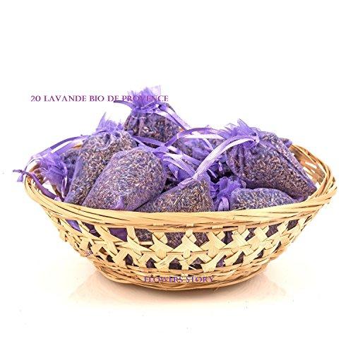Flowers Story 15 Sachets Lavande Bio Provence Organza Violet ou Blanc 10 grames Chaque Sachet Lavande Bio Comestible d'Aix en Provence Total 150 g (Violet)