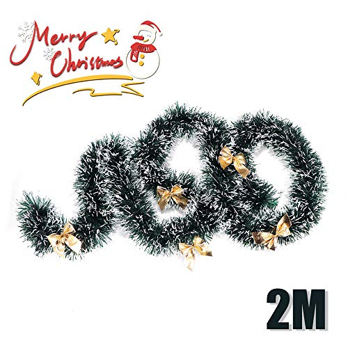 Winbang Addobbi Natalizi, 2m Festa di Natale Nastro Colorato Albero di Natale Decorazione Ornamenti Regalo Hanging, Knot Giallo (1pcs)