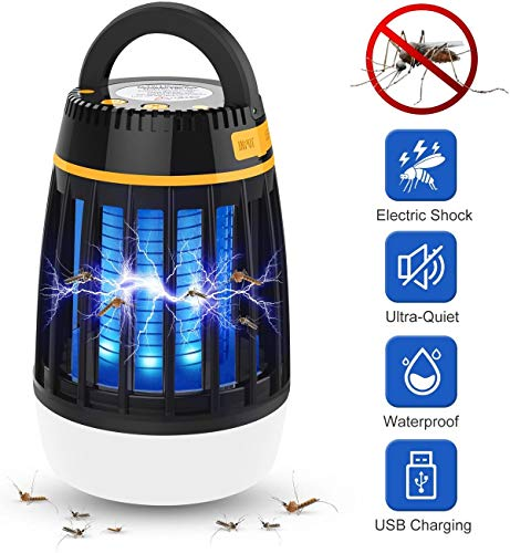 Bug Zapper Light Bulb, 3 in 1 Mosquito Killer Lamp UV Led Rechargeable Insect & Fly Killer, Waterproof Camping Light & Power Bank for Indoor Outdoor Use