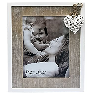 5x7  Distressed Wooden Photo Frame in Natural Wood and Off White With a Heart Detail. Contemporary Love Collection. A Delicate Choice Perfect for a Birthday or Anniversary. Photo Size 5x7