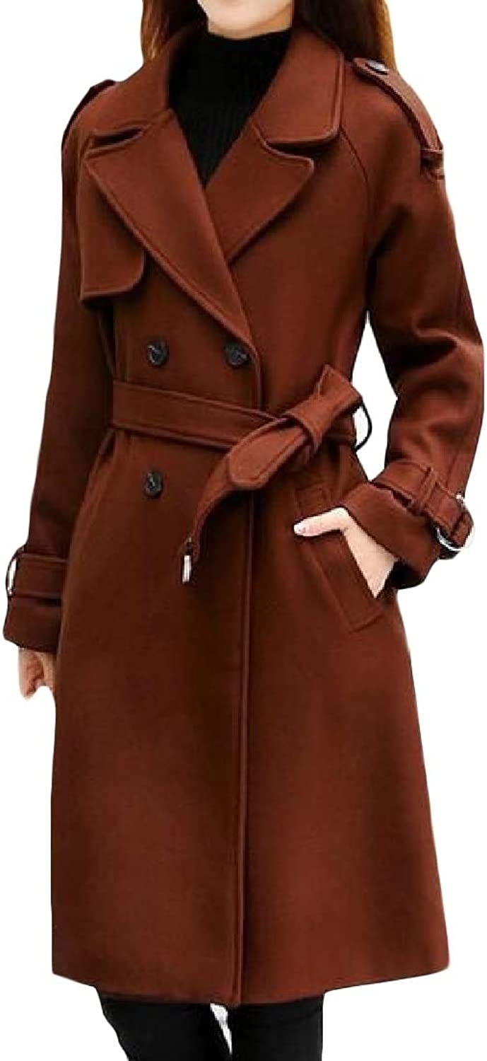 CromoncentCA Womens Casual Woolen Belt Double Breasted Outwear Pea Coat