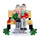 Personalized Park Bench Family of 2 Christmas Tree Ornament 2020 - Happy Couple Friend Sit Meet Together Decorated Back-Yard Holiday Winter Park Tradition Grand-Parent Year Gift - Free Customization