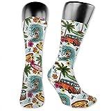Compression Medium Calf Socks,Hawaiian Surfer On Wavy Deep Sea Retro Style Palm Trees Flowers Surf Boards Print