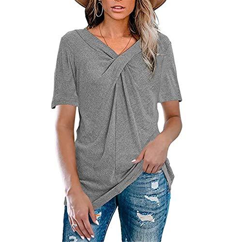 LIDABAO Camiseta de verano de manga corta para mujer, cuello en V, color sólido, transpirable, informal