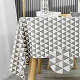 KINLO Gartentischdecke Tischdecke abwaschbar 140x220cm grau Leinenoptik Tischdechen Leinendecke Leinen Wachstuchtischdecke Tischwäsche ideal für Party, Vereinsfeier, Geburtstagsfeier