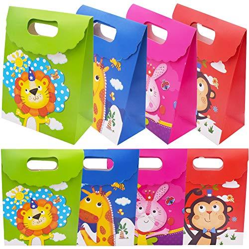 BESLIME 12 Pezzi Sacchetti Regalo Carta, Sacchetto Regalo Animale, Design Animali Cartoon, per Feste, Feste di Compleanno e Matrimoni Sacchetti Regalo di Carta per Bambini